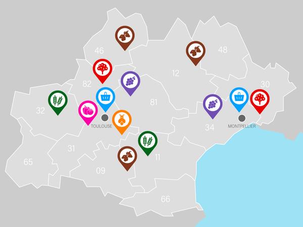 Les 13 sites géographiques des 7 Open Labs d'Occitanum en Région Occitanie